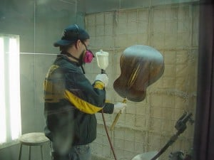 A good mask and gloves are the minimum requirements of personal protection when working in a spraying booth!